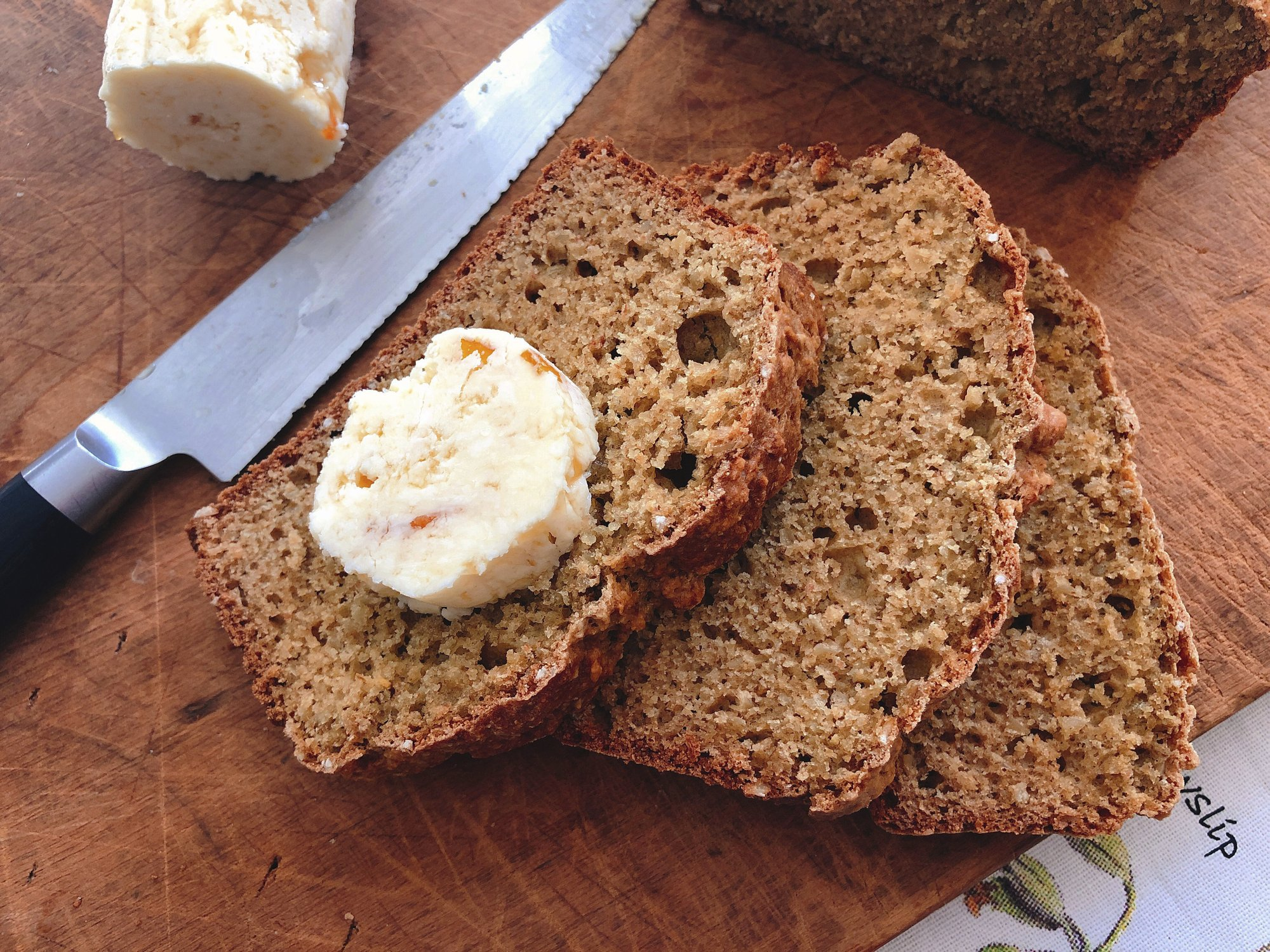 Here's a nubby whole-wheat quick bread with scotch butter