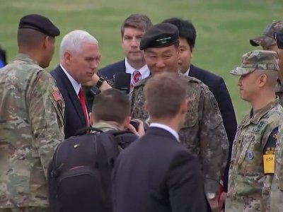Raw: Pence Visits Base near Demilitarized Zone