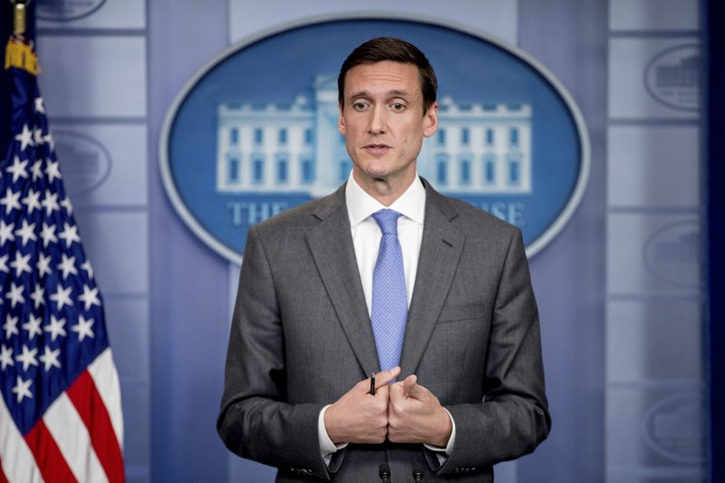 Homeland security and counterterrorism adviser Tom Bossert speaks about malware known as WannaCry, Monday, May 15, 2017, during the daily press briefing at the White House in Washington. President Donald Trump's homeland security adviser has a message to those blaming U.S. intelligence agencies for the cyberattack encircling the globe: Don't point a finger at the National Security Agency. Blame the hackers.