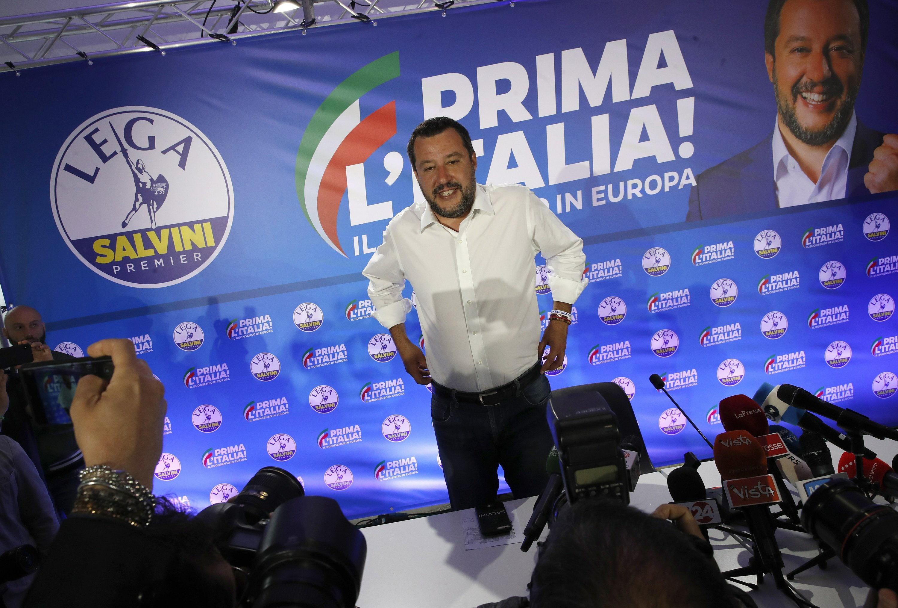 The Latest: Salvini courts right-wing lawmakers for his bloc