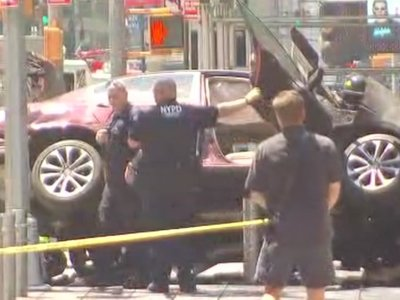 Car Crashes Into Several People in Times Square