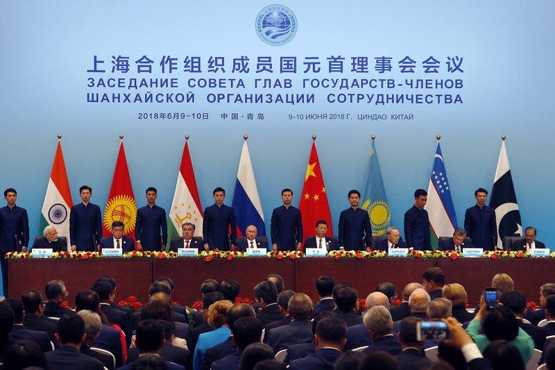 Narendra Modi, Imomali Rakhmon, Vladimir Putin, Xi Jinping, Nursultan Nazarbayev, Shavkat Mirziyoyev, Mamnoon Hussain