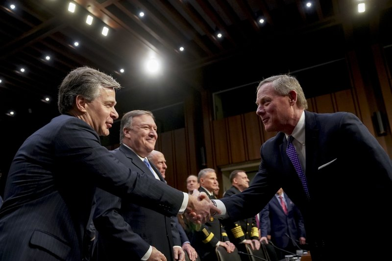 Christopher Wray, Mark Warner, Mike Pompeo