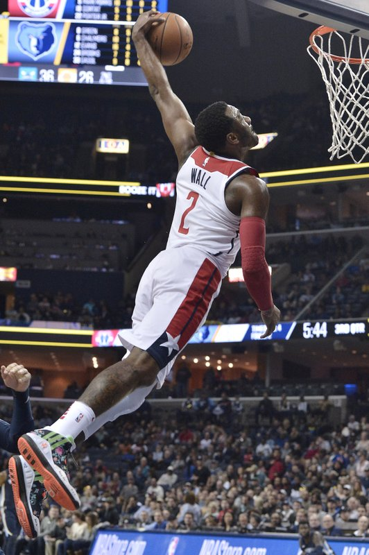 Washington Wizards Guard John Wall Goes Up For A Dunk During The Second Half Of An NBA Basketball Game Against Memphis Grizzlies On Friday Jan