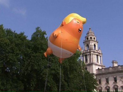 Raw: London Protesters Fly Big Trump Balloon