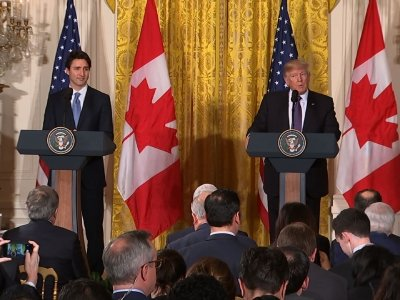 Trump, Trudeau Hold First Joint News Conference