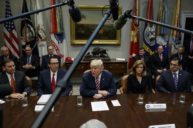 Donald Trump, Steve Mnuchin, Jay Timmons, Karen Kerrigan, Alfredo Ortiz