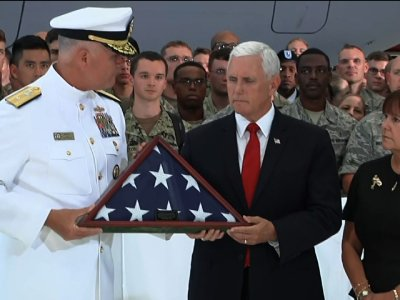 Pence Receives Flag From Korean War Remains
