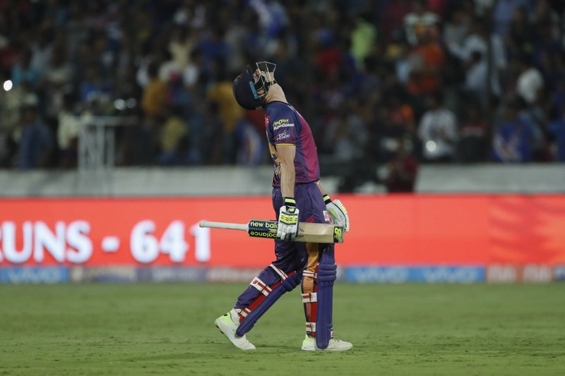 Rising Pune Supergiant's captain Steven Smith gestures after his dismissal by Mumbai Indians' Mitchell Johnson during their Indian Premier League (IPL) cricket final match in Hyderabad, India, Sunday, May 21, 2017. Mumbai Indian won by one runs.