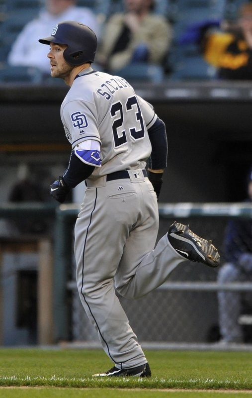 San Diego Padres' Matt Szczur watches his solo home run during the first inning of an interleague baseball game against the Chicago White Sox Friday, May 12, 2017, in Chicago. (AP Photo/Paul Beaty)