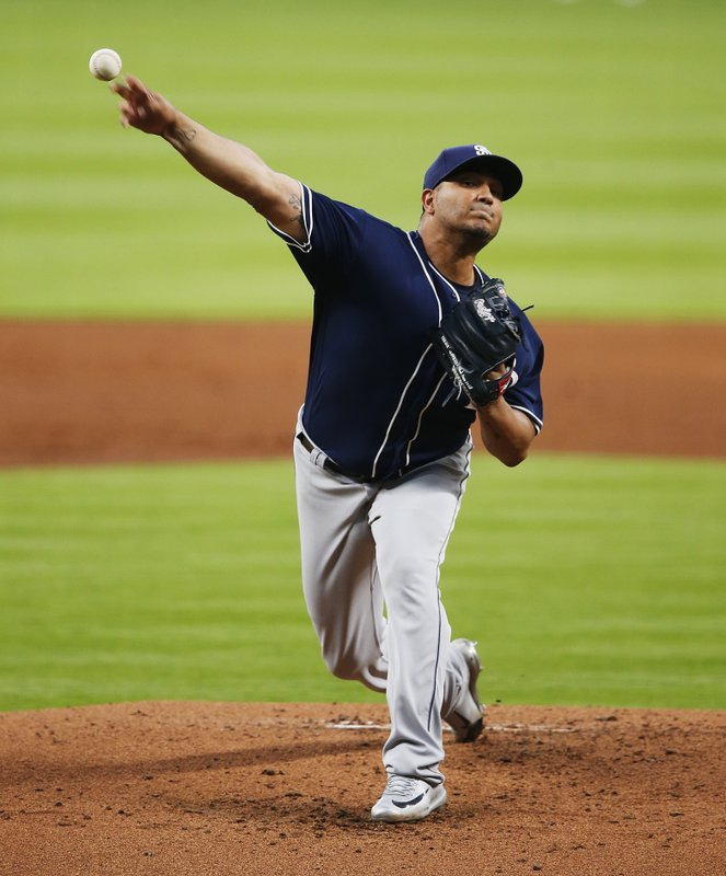 San Diego Padres' starting pitcher Jhoulys Chacin throws in the first inning of a baseball game against the Atlanta Braves in Atlanta, Friday, April 14, 2017. (AP Photo/John Bazemore)