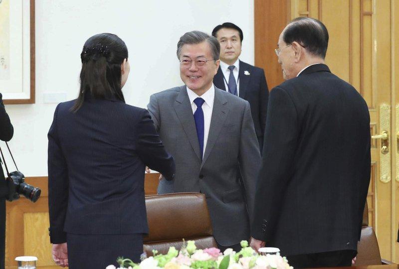 Moon Jae-in, Kim Yo Jong, Kim Yong Nam