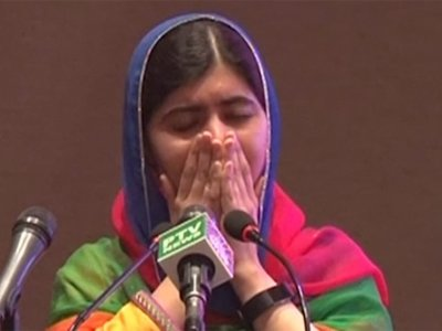 Malala Overcome with Emotion Upon Returning Home