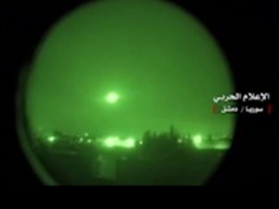 Night Scope Video Shows Missiles Over Damascus