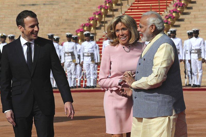 Narendra Modi, Emmanuel Macron, Brigitte