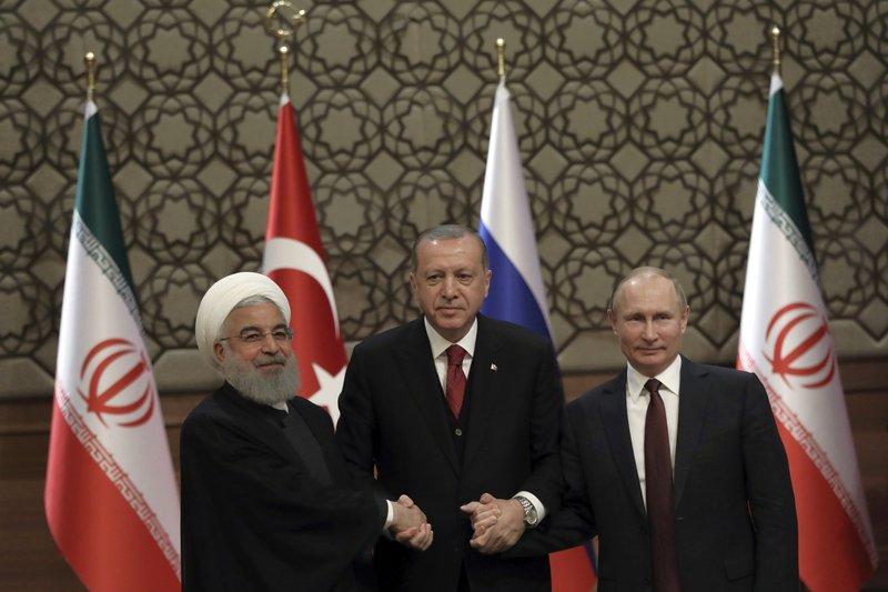 Hassan Rouhani, Vladimir Putin, Recep Tayyip Erdogan