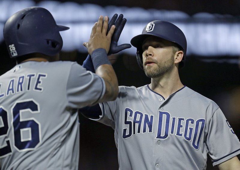 San Diego Padres' Ryan Schimpf, right, celebrates with Yangervis Solarte after hitting a two-run home run off San Francisco Giants' Jeff Samardzija during the fifth inning of a baseball game Friday, April 28, 2017, in San Francisco. (AP Photo/Ben Margot)