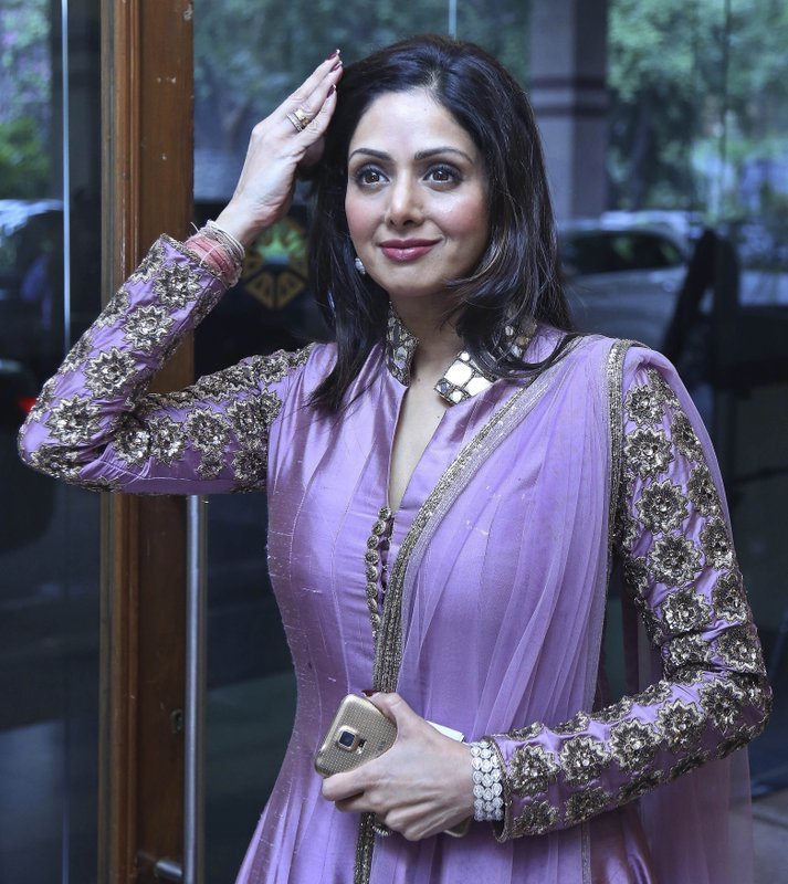 In this Oct. 8, 2014 file photo, Bollywood actress Sridevi arrives for a promotional event in Hyderabad, India. Sridevi, Bollywood's leading lady of the 1980s and '90s who redefined stardom for actresses in India, has died at age 54. The actress, known by one name, was described as the first female superstar in India's male-dominated film industry. Her brother-in-law Sanjay Kapoor speaking to the Indian Express online confirmed she died Saturday, Feb. 24, 2018, in Dubai due to cardiac arrest.