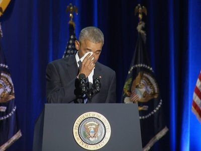 Obama Gets Emotional Thanking His Wife, Family