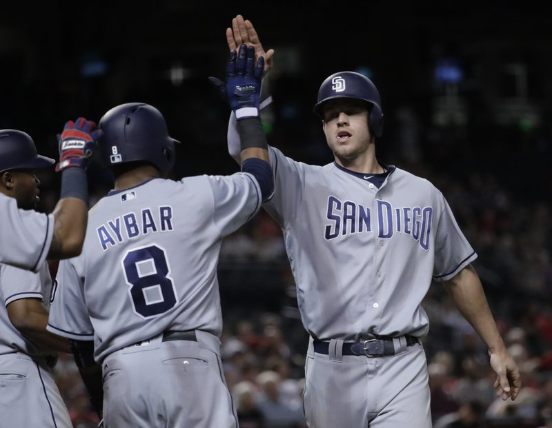 San Diego Padres' Wil Myers high fives teammate Erick Aybar (8) after hitting a three run home run against the Arizona Diamondbacks during the seventh inning of a baseball game, Monday, April 24, 2017, in Phoenix. (AP Photo/Matt York)