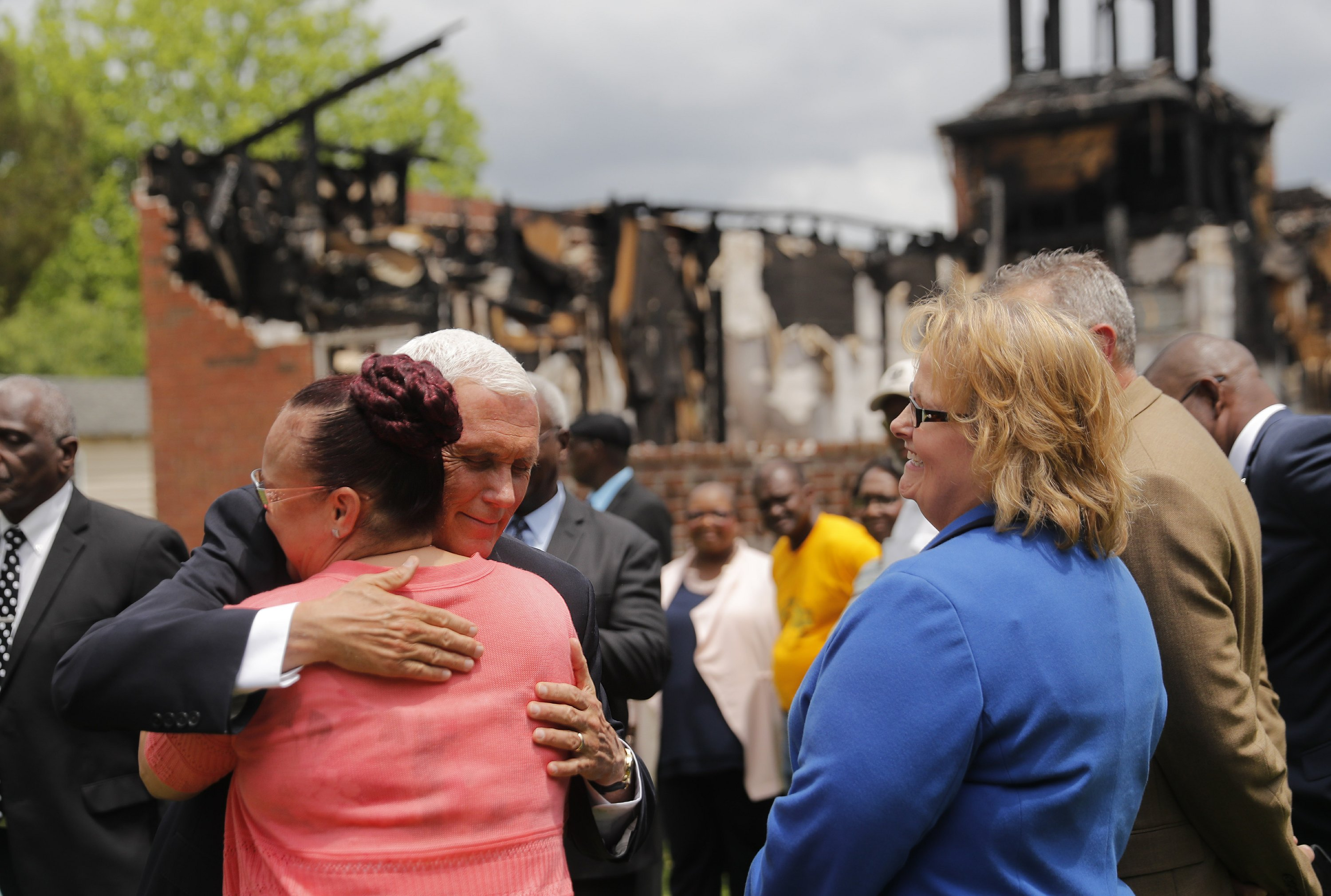 VP Pence praises members of black churches torched by arson