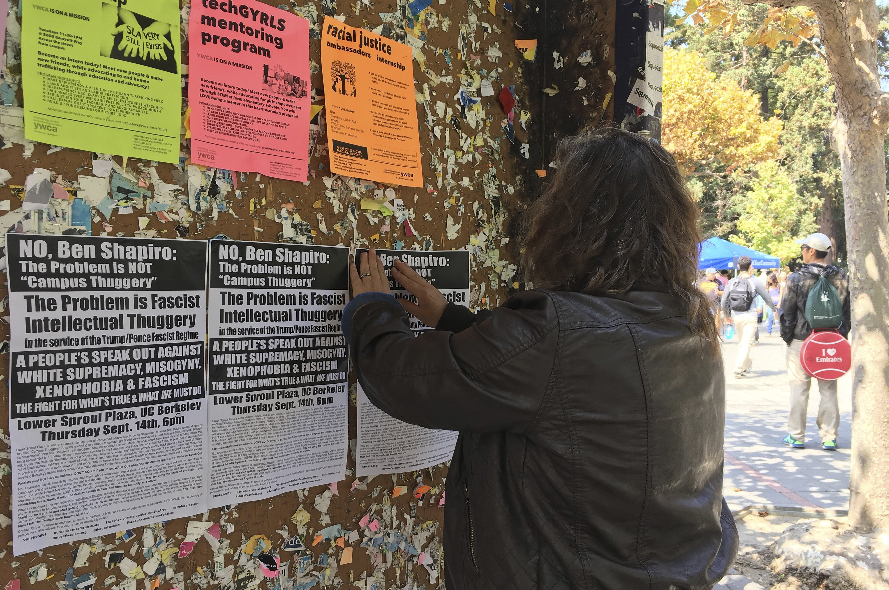 The Latest: Dozens line up to hear conservative at Berkeley