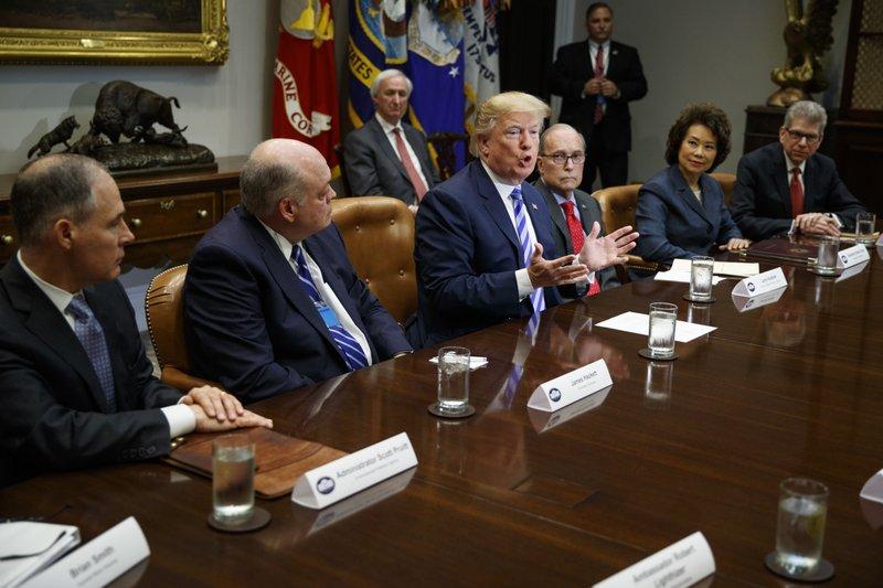 Donald Trump, Scott Pruitt, James Hackett, Larry Kudlow, Elaine Chao, Scott Becker