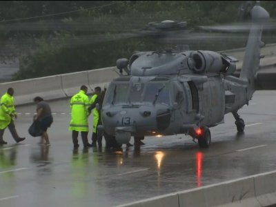 Raw: Helicopters Bring Flood Victims to Safety