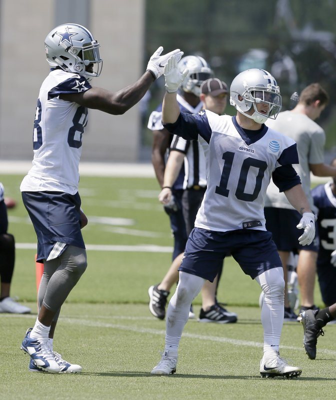 In This Photo Taken June 13, 2017, Dallas Cowboys Receiver Ryan Switzer  (10) Gets A High Five From Fellow Wide Receiver Dez Bryant During An NFL  Football ...