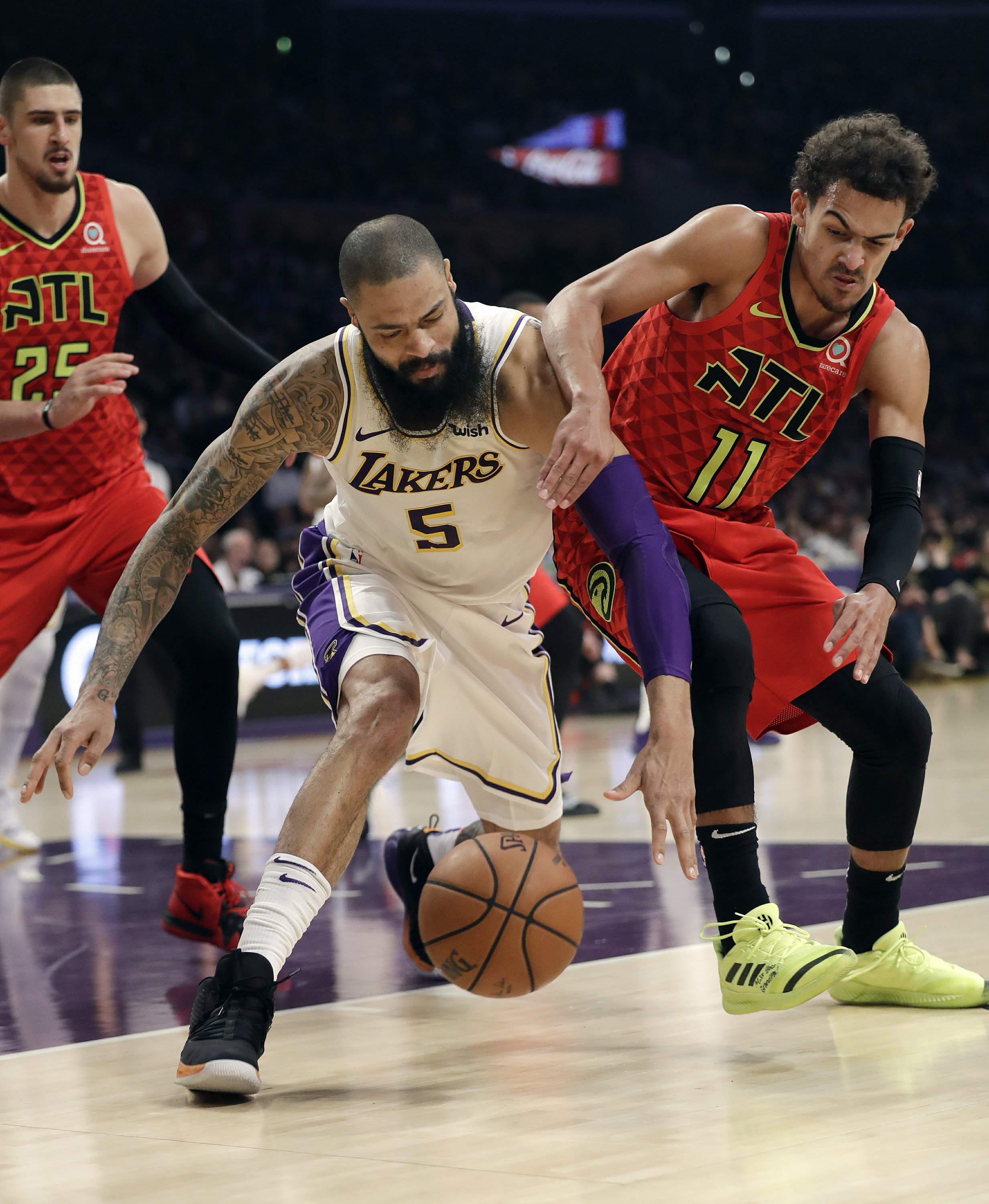 Image result for James' dunk lifts Lakers to 107-106 win over Hawks