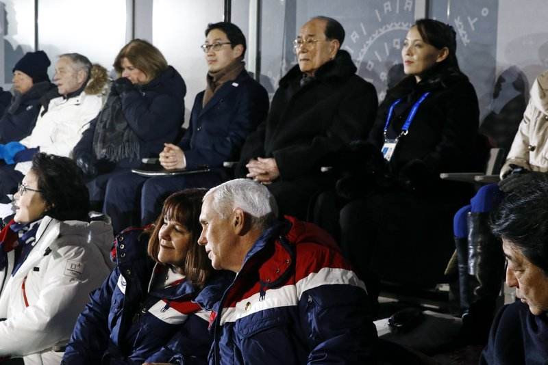 Mike Pence, Karen Pence, Kim Yong Nam, Kim Yo Jong