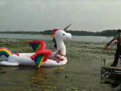 Women Stranded on Giant Rainbow Unicorn Rescued