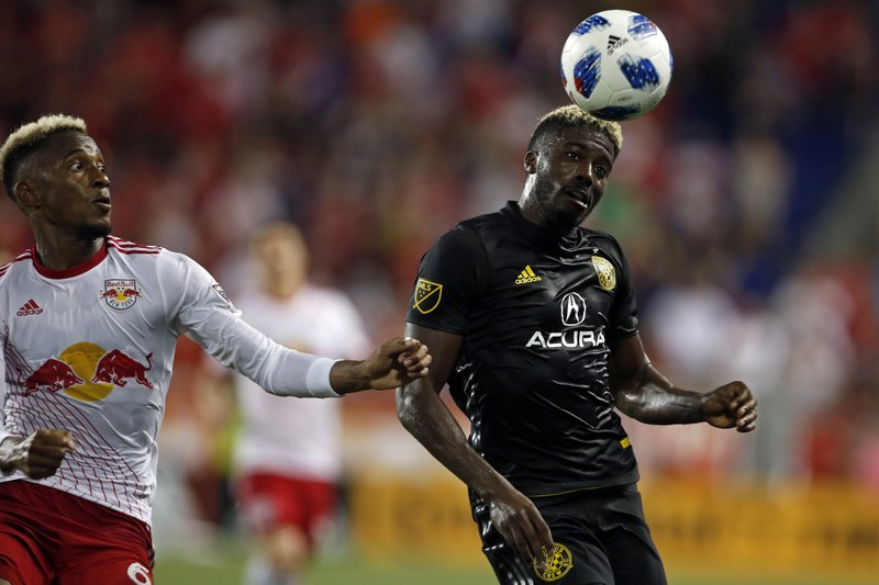 Columbus Crew Forward Gyasi Zerdes Looks To Control The Ball In Front Of  New York Red Bulls Defender Michael Murillo During The Second Half Of An  MLS Soccer ...