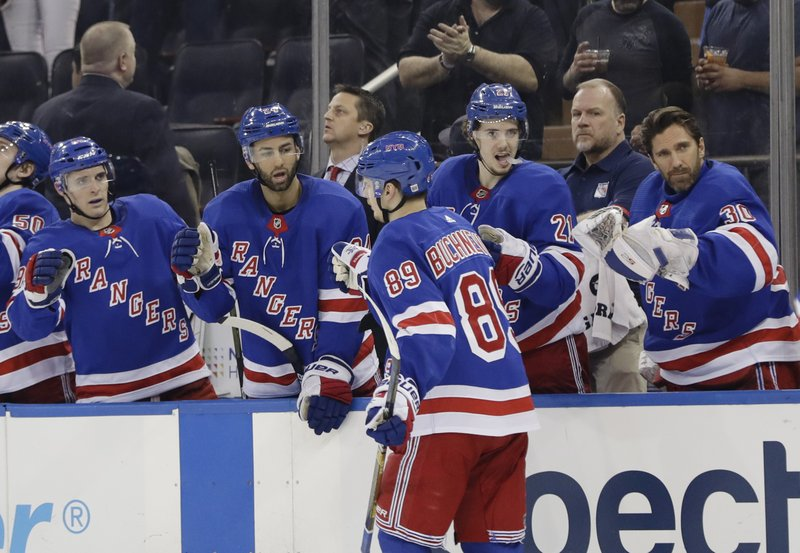 new style 40914 84b6a Vesey scores go-ahead goal in 3rd, Rangers top Blues 4-2