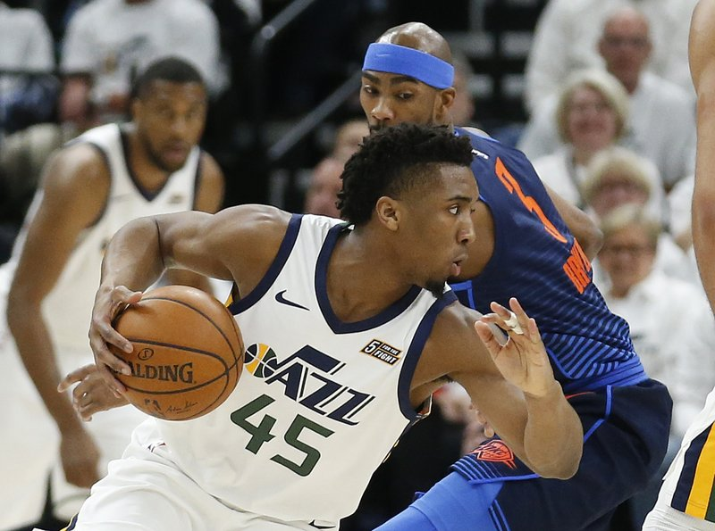 on sale 6cfc6 26f78 Mitchell scores 33, Jazz rout Thunder 113-96
