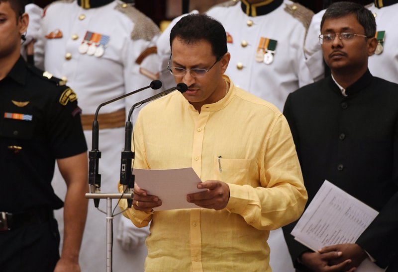Member of Parliament Anant Kumar Hegde, takes the oath during the swearing-in ceremony of new ministers at the Presidential Palace in New Delhi, India, Sunday, Sept.3, 2017. India Prime Minister Narendra Modi, on Sunday reshuffled some of his key minister's portfolios to refurbish his government's image, which has been dented by falling economic indicators.