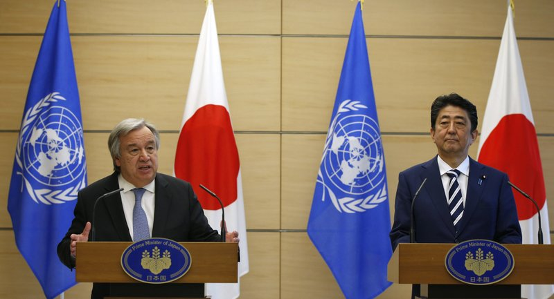 Antonio Guterres, Shinzo Abe