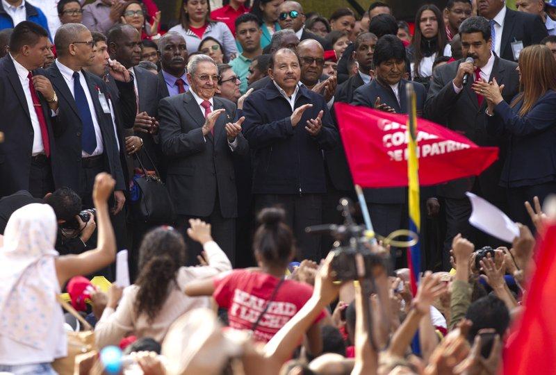 Nicolas Maduro, Daniel Ortega, Raul Castro, Evo Morales, Cilia Flores