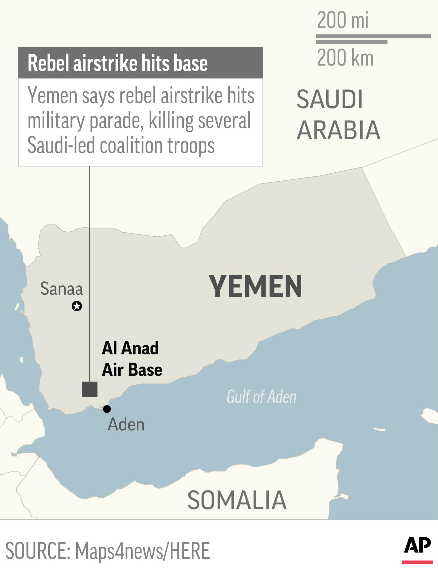 Bomb-laden rebel drone kills 6 at Yemen military parade