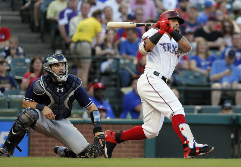 Texas Rangers' Rougned Odor follows through on a line out to San Diego Padres first baseman Wil Myers for a double play in the second inning of a baseball game, Thursday, May 11, 2017, in Arlington, Texas. Jonathan Lucroy was doubled off first. Padres catcher Austin Hedges is at left. (AP Photo/Tony Gutierrez)