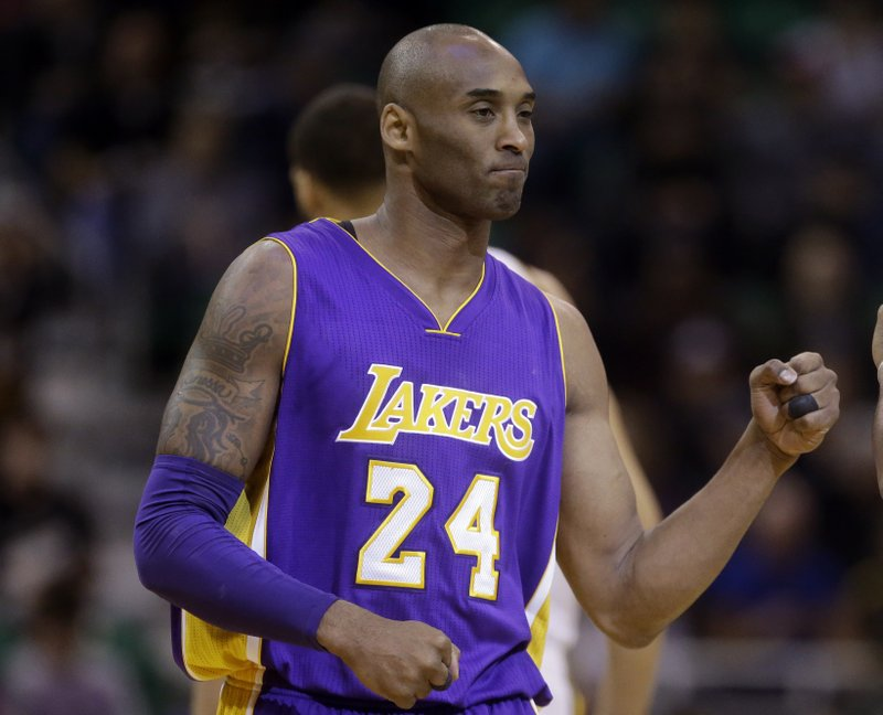 huge discount 47514 1d419 FILE - In this March 28, 2016, file photo, Los Angeles Lakers forward Kobe  Bryant (24) walks onto the court during the team s NBA basketball game  against ...