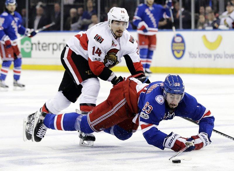 sports shoes d98e5 a14f6 Karlsson leads Senators past Rangers into East finals