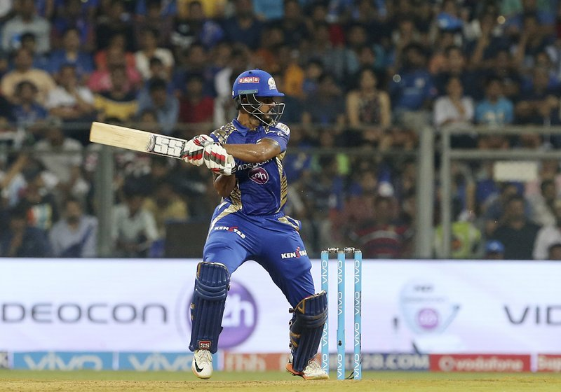 Mumbai Indians Nitish Rana bats during their Indian Premier League (IPL) cricket match against Sunrisers Hyderabad in Mumbai, India, Wednesday, April 12, 2017.