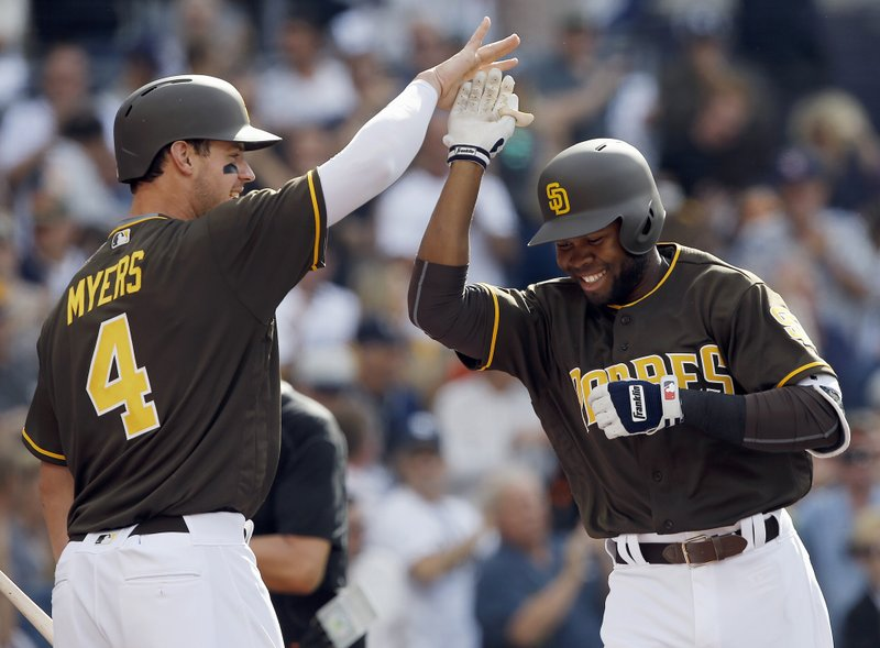 San Diego Padres' Wil Myers, left, congratulates Manuel Margot, right, on Margot's second solo home run of the day, during the third inning a baseball game against the San Francisco Giants in San Diego, Friday, April 7, 2017. (AP Photo/Alex Gallardo)