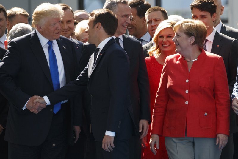 Donald Trump, Angela Merkel, Emmanuel Macron, Emmanuel Macro