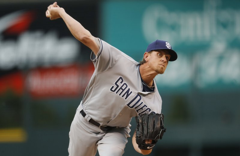 San Diego Padres' starter Jered Weaver delivers a pitch to a Colorado Rockies batter during the first inning of a baseball game Tuesday, April 11, 2017, in Denver. (AP Photo/David Zalubowski)