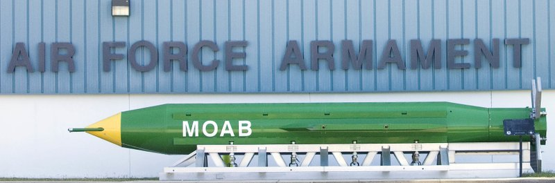 This May 2004 photo shows a GBU-43B, or massive ordnance air blast (MOAB) weapon, on display at the Air Force Armament Museum on Eglin Air Force Base near Valparaiso, Fla. U.S. forces in Afghanistan struck an Islamic State tunnel complex in eastern Afghanistan on Thursday, April 13, 2017, with a GBU-43B, the largest non-nuclear weapon ever used in combat by the U.S. military, Pentagon officials said.