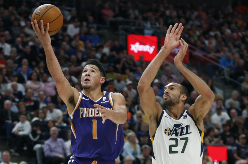 Image result for devin booker rudy gobert