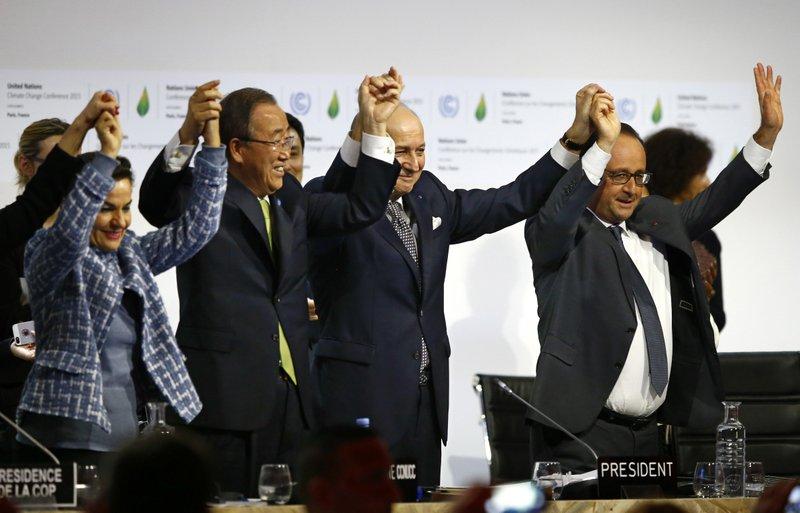 Francois Hollande, Laurent Fabius, Christiana Figueres, Ban Ki-moon