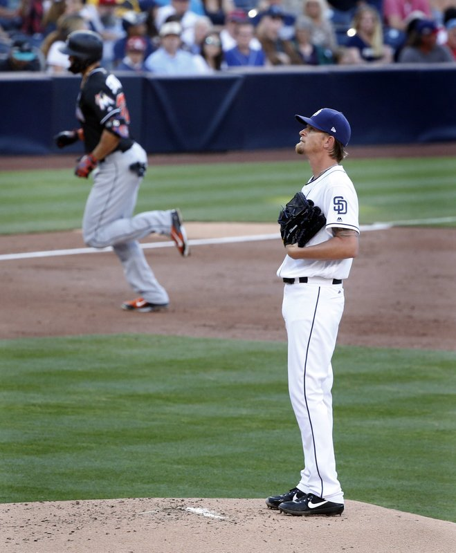 Miami Marlins' Giancarlo Stanton, left, rounds third base after hitting a home run as San Diego Padres starting pitcher Jered Weaver looks on in the second inning of a baseball game in San Diego, Saturday, April 22, 2017. (AP Photo/Christine Cotter)